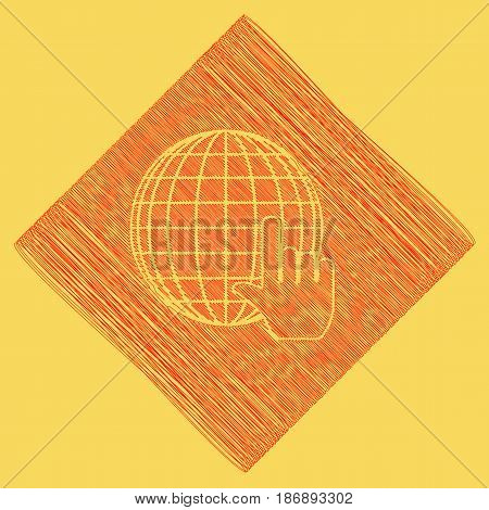 Earth Globe with cursor. Vector. Red scribble icon obtained as a result of subtraction rhomb and path. Royal yellow background.