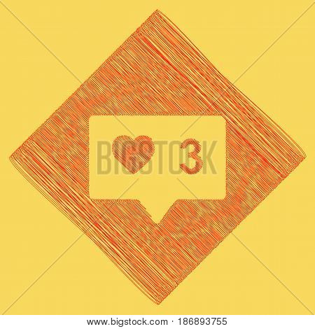 Like and comment sign. Vector. Red scribble icon obtained as a result of subtraction rhomb and path. Royal yellow background.