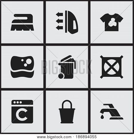 Set Of 9 Editable Cleaning Icons. Includes Symbols Such As No Laundry, Container, Faucet And More. Can Be Used For Web, Mobile, UI And Infographic Design.