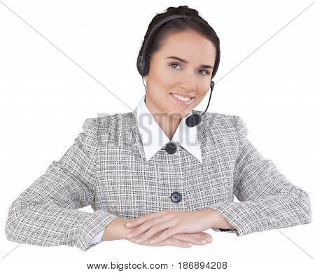 Call center woman friendly talking on headset female helpdesk customer service