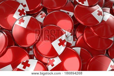 Tonga Badges Background - Pile Of Tonga Flag Buttons.