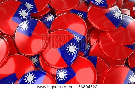 Taiwan Badges Background - Pile Of Taiwanese Flag Buttons.