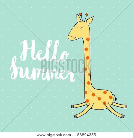 Cute giraffe in vector. Handmade calligraphy illustration.