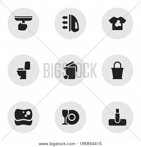 Set Of 9 Editable Dry-Cleaning Icons. Includes Symbols Such As Container, Washing Tool, Pail And More. Can Be Used For Web, Mobile, UI And Infographic Design.