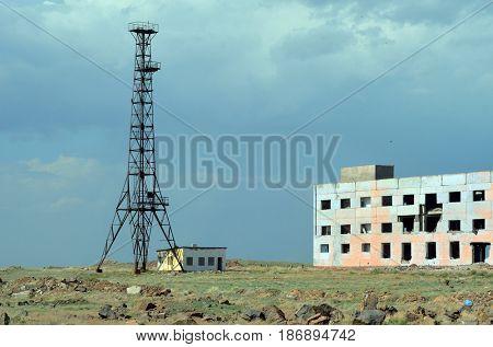 Former Soviet  anti-ballistic missile testing range.Kazakhstan.May 6, 2017.Betpak Dala desert.West bank of Balkhash lake.Kazakhstan