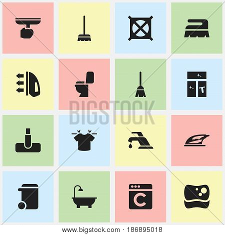 Set Of 16 Editable Cleanup Icons. Includes Symbols Such As Dustbin, Restroom, Sweep And More. Can Be Used For Web, Mobile, UI And Infographic Design.