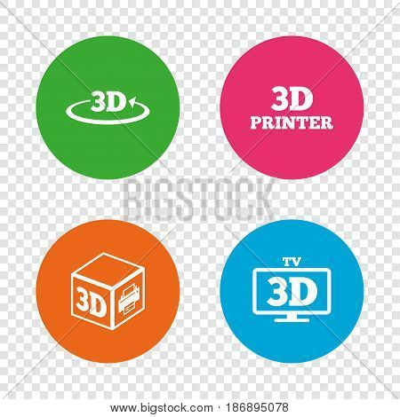 3d technology icons. Printer, rotation arrow sign symbols. Print cube. Round buttons on transparent background. Vector