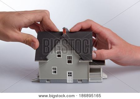 Concept house model real estate home insurance household insurance insurance building insurance