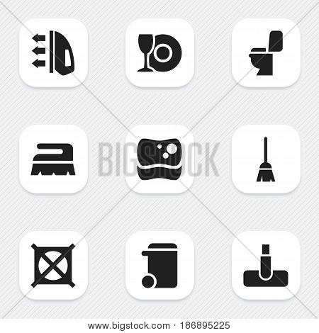 Set Of 9 Editable Dry-Cleaning Icons. Includes Symbols Such As Broomstick, Hoover, No Laundry And More. Can Be Used For Web, Mobile, UI And Infographic Design.