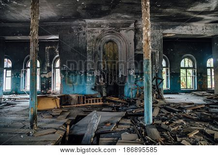 Interior of the old burnt mansion in Astrakhan
