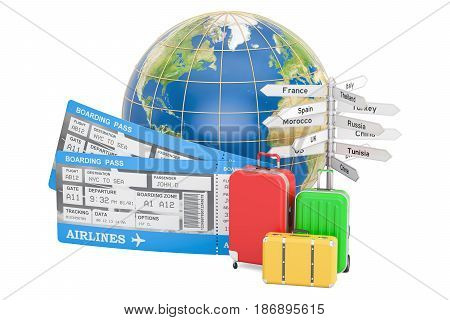 Travel concept Earth globe with suitcases tickets and signposts. 3D rendering isolated on white background