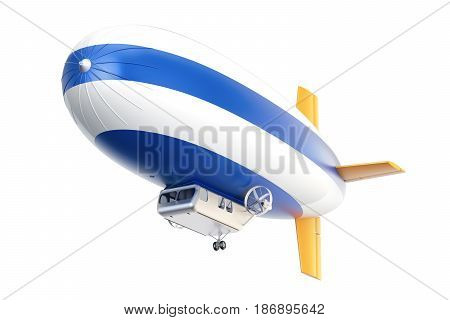 Airship or dirigible balloon 3D rendering isolated on white background