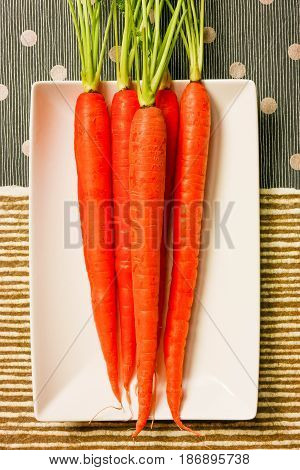 Vertical  orange carrots with green tops on white plate on textured brown and blue striped papers with silver dots