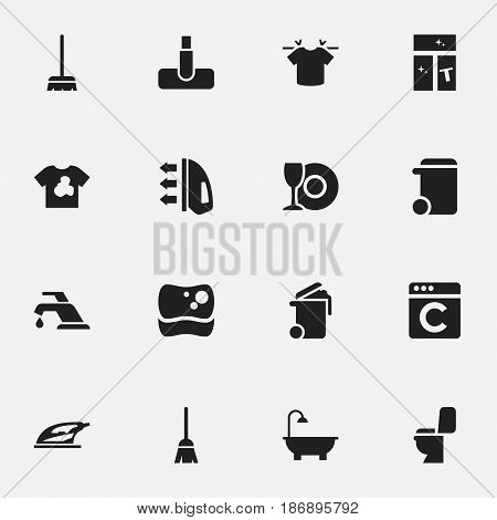 Set Of 16 Editable Cleaning Icons. Includes Symbols Such As Unclean Blouse, Bathroom, Broomstick And More. Can Be Used For Web, Mobile, UI And Infographic Design.