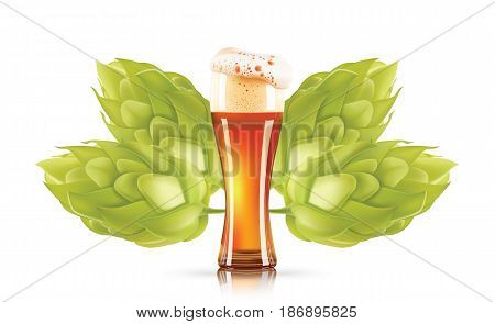 Hop plant and elegant glass of beer 3d vector icon isolated on white background. Hops beer photo-realistic vector illustration