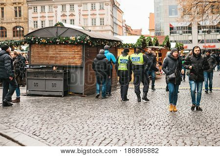 Prague, Czech Republic - December 24, 2016 - The police presence at Christmas on the squares of the city. Police patrolled the streets of the city. Strengthening of security measures during public holidays. Christmas in Europe.