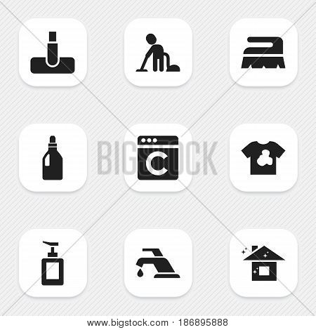 Set Of 9 Editable Cleanup Icons. Includes Symbols Such As Pure Home, Unclean Blouse, Sweep And More. Can Be Used For Web, Mobile, UI And Infographic Design.