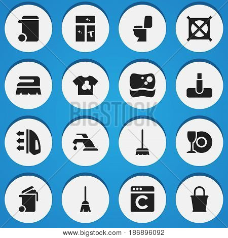 Set Of 16 Editable Hygiene Icons. Includes Symbols Such As Washing Tool, Laundress, No Laundry And More. Can Be Used For Web, Mobile, UI And Infographic Design.