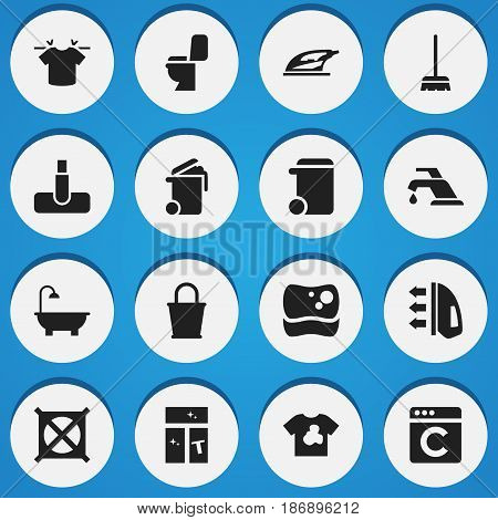 Set Of 16 Editable Hygiene Icons. Includes Symbols Such As Bathroom, Hoover, Steam And More. Can Be Used For Web, Mobile, UI And Infographic Design.