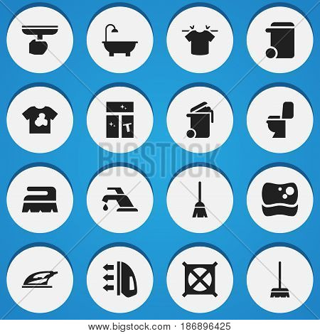 Set Of 16 Editable Hygiene Icons. Includes Symbols Such As Dustbin, Clean T-Shirt, Bathroom And More. Can Be Used For Web, Mobile, UI And Infographic Design.