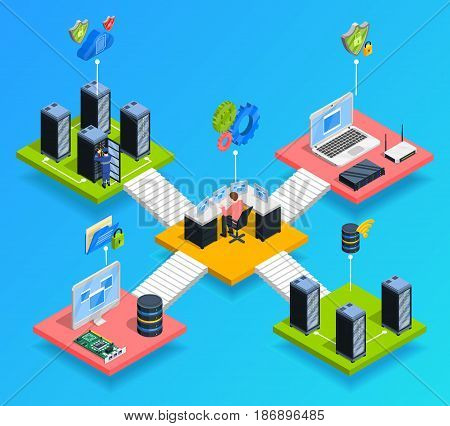 Isometric datacenter composition with cloud computing pictograms and isometric images of different telehouse rooms connected by stairs vector illustration