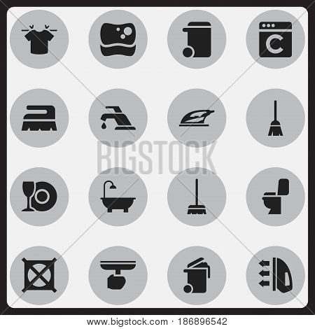Set Of 16 Editable Cleanup Icons. Includes Symbols Such As Brush, Bathroom, Laundress And More. Can Be Used For Web, Mobile, UI And Infographic Design.