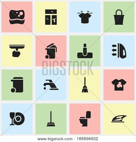 Set Of 16 Editable Cleanup Icons. Includes Symbols Such As Washing Tool, Faucet, Dustbin And More. Can Be Used For Web, Mobile, UI And Infographic Design.