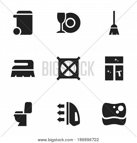 Set Of 9 Editable Dry-Cleaning Icons. Includes Symbols Such As No Laundry, Washing Glass, Sweep And More. Can Be Used For Web, Mobile, UI And Infographic Design.
