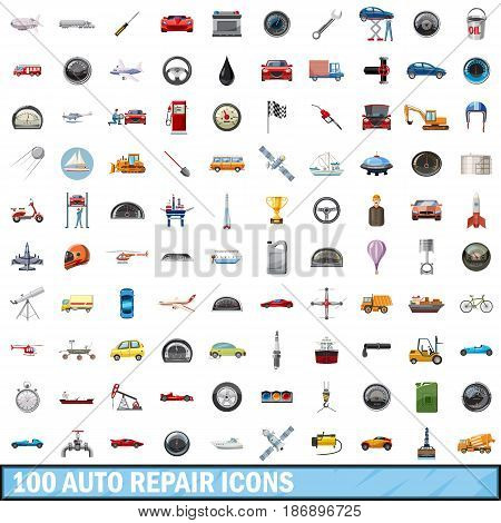 100 auto repair icons set in cartoon style for any design vector illustration