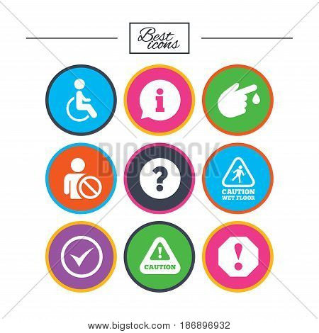 Attention notification icons. Question mark and information signs. Injury and disabled person symbols. Classic simple flat icons. Vector