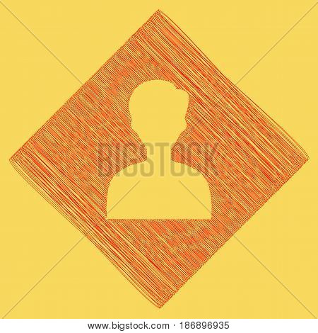 User avatar illustration. Anonymous sign. Vector. Red scribble icon obtained as a result of subtraction rhomb and path. Royal yellow background.