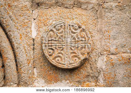Architectural Details Or Patterns Of Bas-reliefs On Wall Of The Gergeti Trinity Church. Tsminda Sameba - Holy Trinity Church Near Village Of Gergeti Near Kazbegi In Georgia