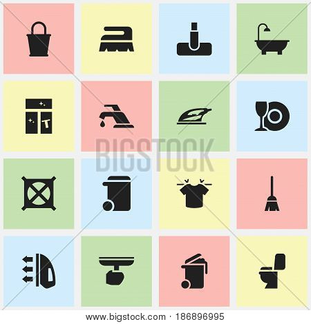 Set Of 16 Editable Cleaning Icons. Includes Symbols Such As Bathroom, Pail, Washing Glass And More. Can Be Used For Web, Mobile, UI And Infographic Design.