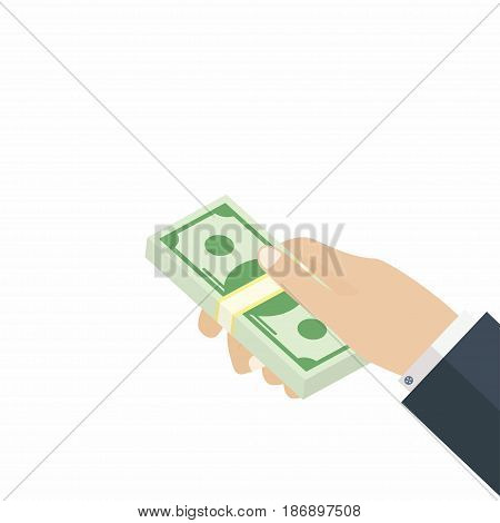 Hand giving dollars stack. Payment transaction earnings Vector