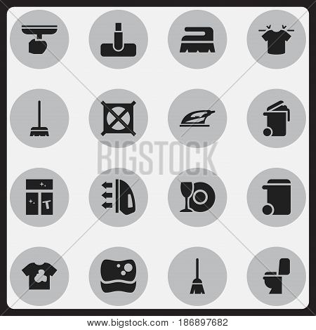 Set Of 16 Editable Dry-Cleaning Icons. Includes Symbols Such As Clean T-Shirt, Whisk, No Laundry And More. Can Be Used For Web, Mobile, UI And Infographic Design.