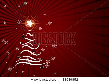 Editable red vector abstract Christmas background with space for yout text