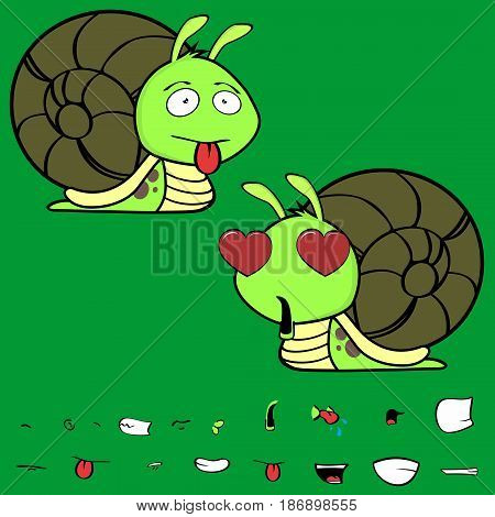 inlove little snail cartoon expressions set in vector format very easy to edit