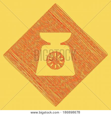 Kitchen scales sign. Vector. Red scribble icon obtained as a result of subtraction rhomb and path. Royal yellow background.