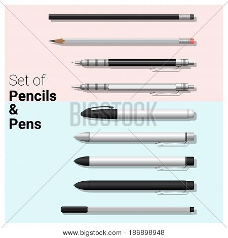 Set of pencils and pens , vector, illustration