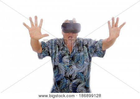 A man uses virtual reality goggles. isolated on white. room for text.