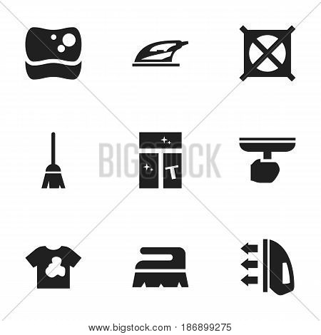Set Of 9 Editable Hygiene Icons. Includes Symbols Such As Broomstick, Sweep, Washing Glass And More. Can Be Used For Web, Mobile, UI And Infographic Design.