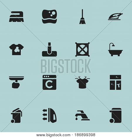Set Of 16 Editable Dry-Cleaning Icons. Includes Symbols Such As Clean T-Shirt, Laundress, Appliance And More. Can Be Used For Web, Mobile, UI And Infographic Design.