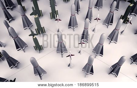 Background of many military missiles. 3d rendering