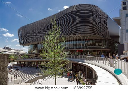 Southampton, UK. 14th May 2017. The regeneration of West Quay is shown here with the new Watermark development of shops, leisure and entertainment facilities including restaurants and a cinema.