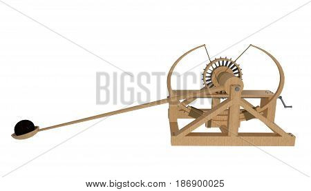 catapult da vinci isolated on white. 3d rendering