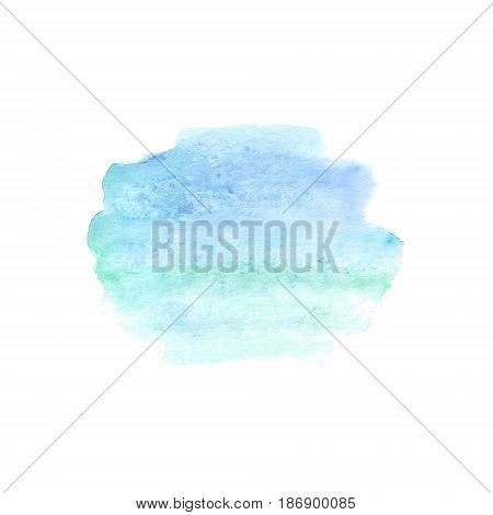 Abstract watercolor hand painted spot. Watercolor design element. Watercolor blue and turquoisebackground.