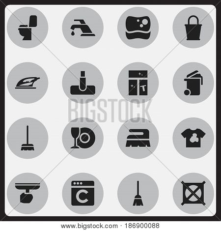 Set Of 16 Editable Dry-Cleaning Icons. Includes Symbols Such As No Laundry, Washing Tool, Washing Glass And More. Can Be Used For Web, Mobile, UI And Infographic Design.