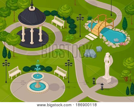 Park landscape isometric design composition with gazebo statue fountain lake walking path vector illustration