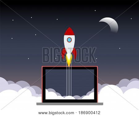 Space rocket launch. Start up concept. Flat illustration