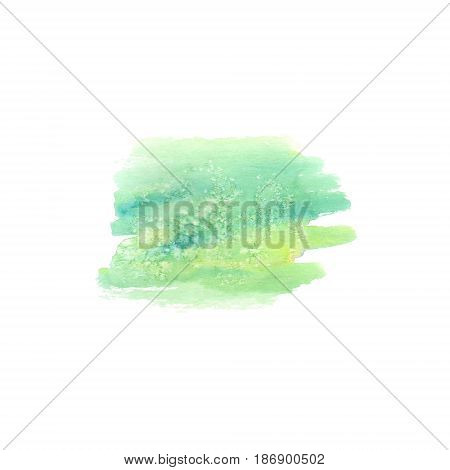 Abstract watercolor hand painted spot. Watercolor design element. Watercolor green background.